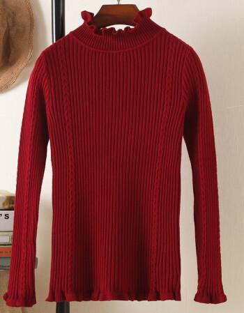 酒红色针织衫套头女