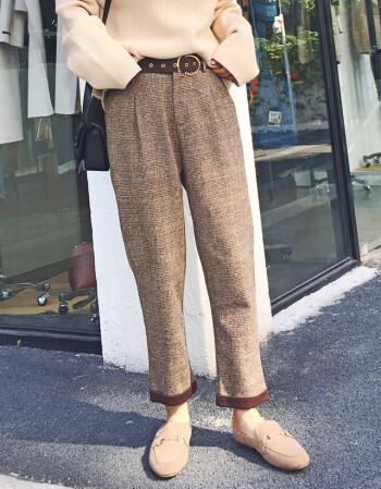 九分裤格子女新款