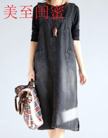 闺蜜秋款背带裙2017新款女韩版宽松时尚胖mm大码女装胖美美搭配的衣服图片