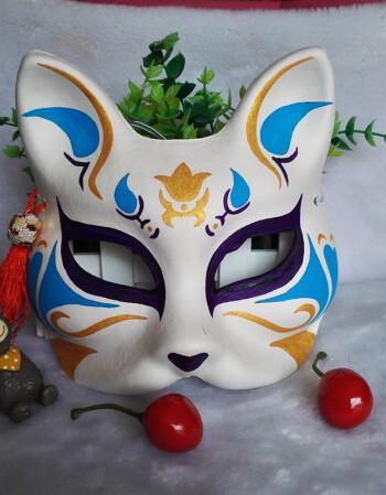 阿坡饵cos手绘和风日式古典手工艺猫脸狐狸面具动漫展