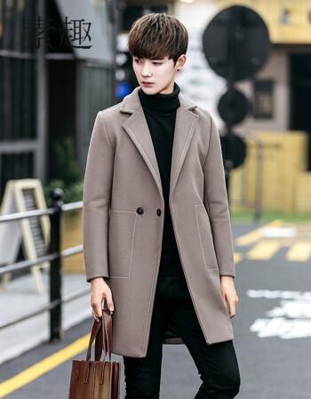 男装 风衣 素趣 素趣2017新款冬季英伦加厚宽松风衣男中长款呢大衣