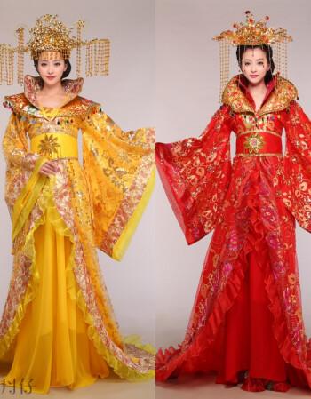 装戏服唐朝皇后仙女拖尾演出服汉服公主古代大唐女装2018 黄色衣服 16