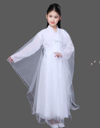 儿童汉服古风服装古代公主贵妃衣服小女孩仙女轻纱白浅广袖流仙裙lwh图片
