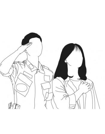 百秀女装纹身风 ins简约黑白线条手绘 照片转手绘 定制 头像图片