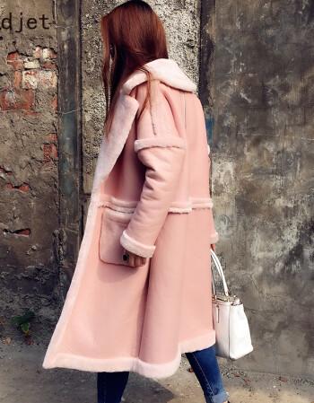 粉红色大衣如何搭配_欧美廓形粉色大衣 粉红色 l