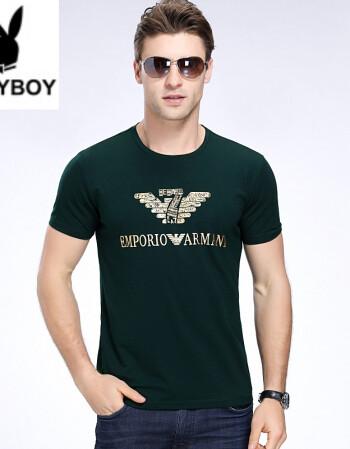 花花公子个性潮流字母印花短袖t恤衫男啊玛尼新款男装
