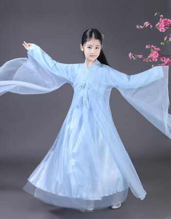 儿童白浅小女孩古装仙女服飘逸轻纱古风古代公主汉服童装 浅蓝色 140
