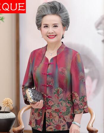 vkque 老年人女夏装民族风妈妈装t恤60岁70奶奶装桑蚕丝衬衣老太太图片