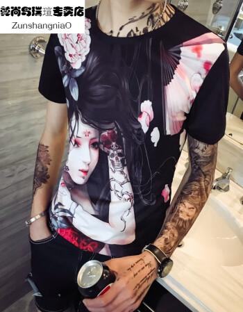 日系美女纹身图案印花修身短袖t恤男2018夏季个性社会
