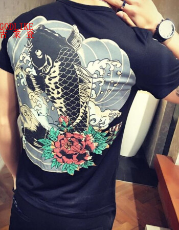 夏天纹身衣服男潮流t恤短袖霸气社会紧身小伙半截袖精神发型师t桖韩版