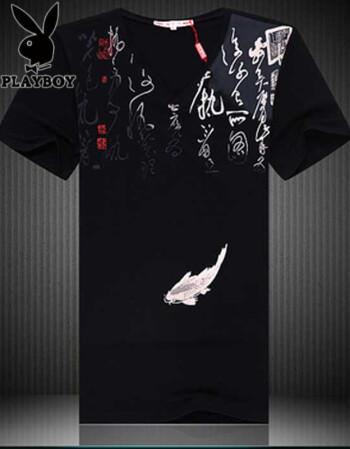 胖哥哥夏季龙花纹短袖创意t恤 老虎头图案个性印花衣服 加大码潮流
