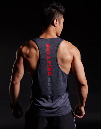 霸道肌肉通用运动训练健身背心男排汗速干透气宽松跑步兄弟背心 黑
