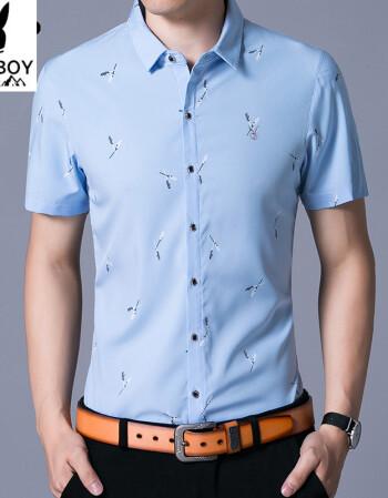 花花公子短袖衬衫男士中年休闲薄款夏季上衣服中青年男子衬衣潮流 012