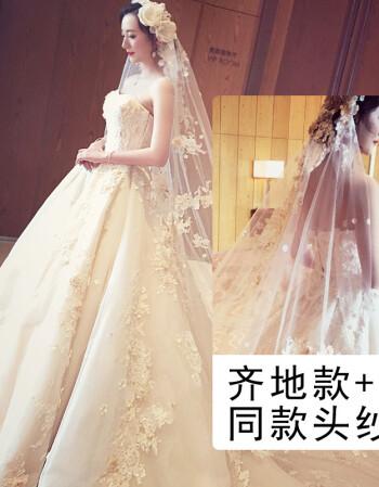 婚纱礼服2018新款欧美新娘公主梦幻宫廷拖尾抹胸森系孕妇显瘦 齐地