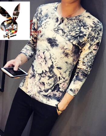 中国风潮流碎花纹身衣服古惑凤凰图案t恤男长袖修身紧身t恤网红