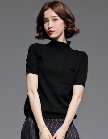 夏尔维纳短袖针织衫打底衫半高领2018春季新款韩版半袖毛衣女套头宽松