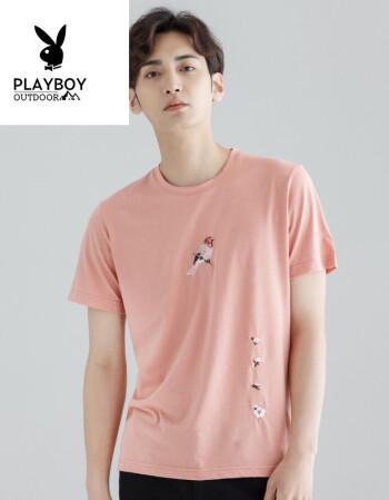 花花公子(playboy)夏季新款白色刺绣男士短袖t恤潮 宽松圆领衣服潮流