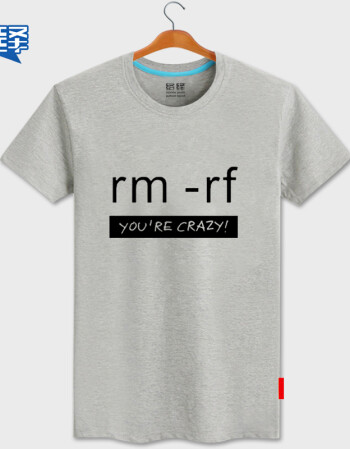络绎程序员代码rm-rf 极客geek衣服 强制删除印花纯棉