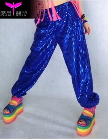 演出服街舞嘻哈hiphop套装爵士舞男女儿童舞蹈练功服装 蓝色亮片裤 m
