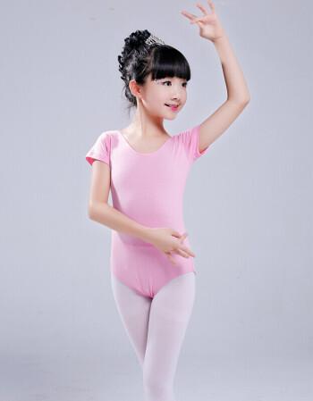 儿童舞蹈服装女童练功服演出服短袖芭蕾舞裙纯棉健美操连体紧身衣 602