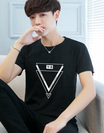 短袖t恤2018夏季韩版修身5五分袖体恤男装 唐森马维狮图片
