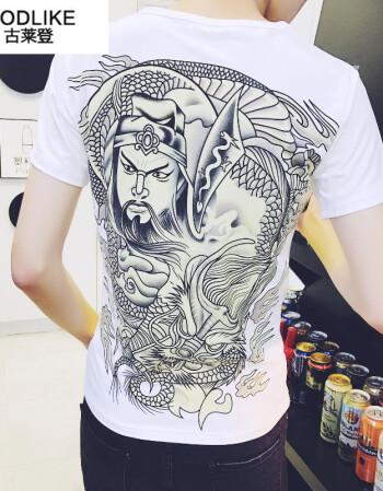 2018夏季男霸气图案纹身短袖男装t恤 霸气关公龙个性印花衣服 潮男装