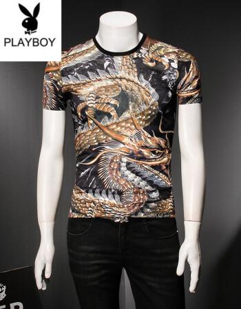 2018年新款天蚕丝短袖t恤中国风男装霸气t恤男短袖潮男个性龙纹身印花