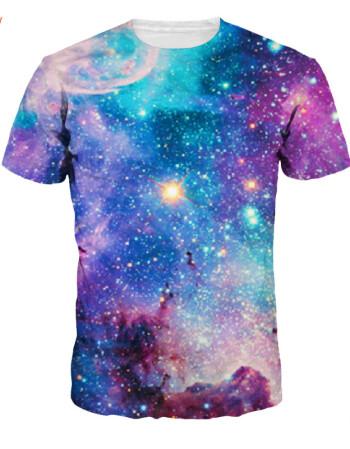 丹杰仕 个性创意星空短袖t恤男衣服3d印花恶搞图案体恤学生班服情侣装