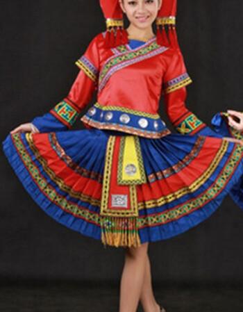 广西壮族舞蹈服女款演出服瑶族彝族少数民族服装表演服饰 衣服+头饰 9