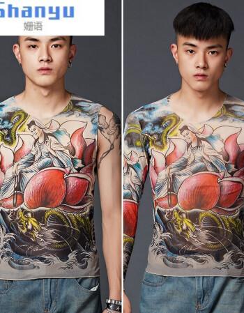 男装秋上新潮牌2018纹身衣服男社会紧身夏季印花朋克长袖个性夜店女纹