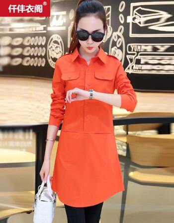 仹�n[�ny���_仟仹衣阁 2016春夏新款韩版女装中长款衬衣x5654 桔红色 l 建议105