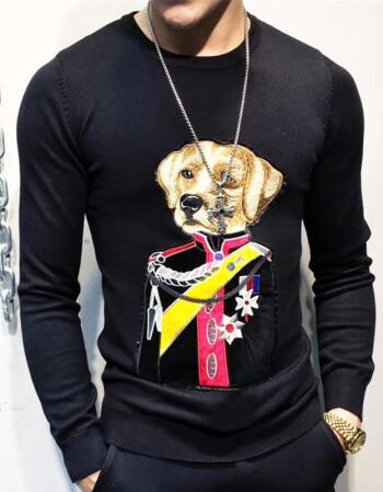 男款欧美时尚皇冠蛇眼睛小蜜蜂刺绣条纹修身针织衫毛衣羊毛打底衫