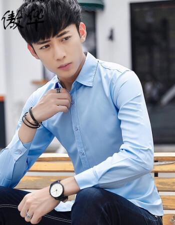 社会小伙长袖衬衫男士修身韩版发型师衬衫学生男青年帅气衬衣秋季 浅图片