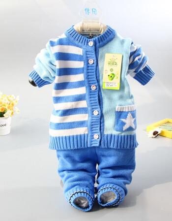 婴儿毛衣套装男新生儿纯棉线衣开衫针织宝宝秋冬装衣服女 深蓝色 婴佳