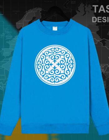 哈萨克斯坦kazak哈萨克连帽卫衣套头春秋加绒哈萨克族花纹外套08 圆领