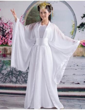 古装仙女 小龙女广袖流仙裙飘逸汉服演出服贵妃古筝写真摄影服装 白色图片