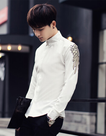 毅皋新款发型师男装秋季衬衫个性帅气韩版修身型青少年刺绣夜店长袖图片