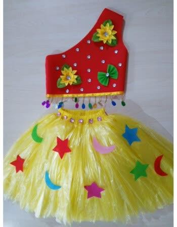 六一儿童服装手工材料塑料袋演出服装走秀公主裙 红加
