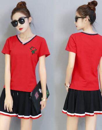 新款幼儿园教师园服幼师服夏季短袖老师工作服运动裙裤套装女 红色 s