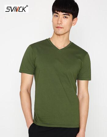 svnck 时尚品牌2018新品 青年男生衣服 夏季新品全棉v领 短袖t恤男士