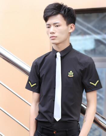空少男酒吧ktv工作服少爷服务员工装发型师衬衫短袖修身夏季 黑色图片