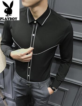 2018秋冬男士英伦时尚修身长袖衬衫青少年发型师帅气潮流衬衫 黑色 l图片