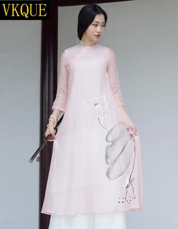 vkque 复古中国风手绘民族风连衣裙民国禅意女装中长款禅服文艺茶服女