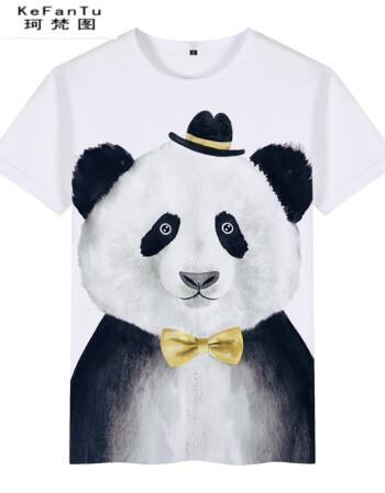 珂樊图中国风男装t恤衫短袖动物熊猫3d图案民族风复古社会小伙国潮