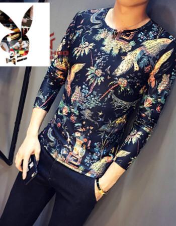 中国风潮流碎花纹身衣服古惑凤凰图案t恤男长袖修身紧身t恤网红同款