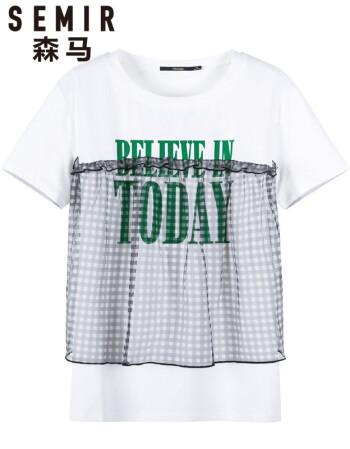 森马2018夏季新款简约休闲网纱拼接圆领套头女士t恤 本白 xs图片