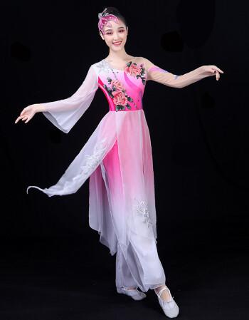 2018古典舞演出服新款扇子伞舞表演服飘逸现代舞蹈服装秧歌成人女图片