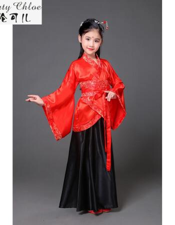 儿童古筝演出服女孩古装表演服装小仙女唐装汉服摄影秋冬 f 165cm