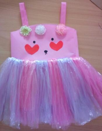 新款儿童环保服diy手工制作时装秀演出服幼儿园服装女子走秀裙 粉色猫