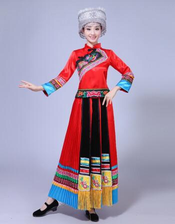 新款苗族刺绣百褶裙湘西土家族服装云南民族风舞蹈演出服广西彝黎瑶族